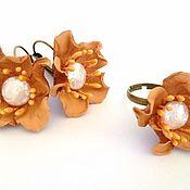 Украшения handmade. Livemaster - original item Ring and earrings beige peach flowers. Handmade.