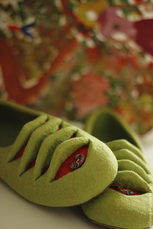 """Обувь ручной работы. Ярмарка Мастеров - ручная работа. Купить """" Жабер"""" валяные тапочки-балетки. Handmade. Ярко-зелёный"""