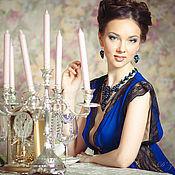 """Одежда ручной работы. Ярмарка Мастеров - ручная работа Пеньюар """"Ультрамарин"""" - темно-синий с черным кружевом. Handmade."""