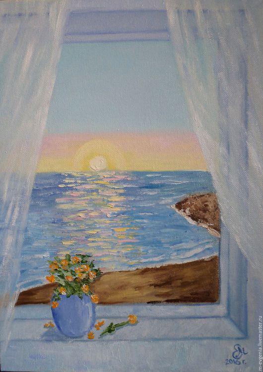 Картина маслом `Море в моем окне`. Авторская картина. Ручная работа.