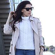 Одежда ручной работы. Ярмарка Мастеров - ручная работа Белый свитер реглан с высоким воротом. Handmade.