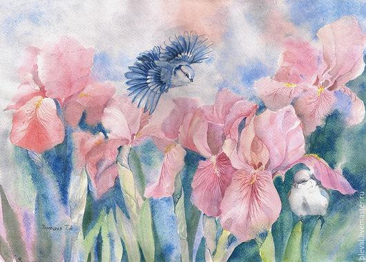 Картины цветов ручной работы. Ярмарка Мастеров - ручная работа. Купить Картина акварелью Ирисы на рассвете. Handmade. Голубой