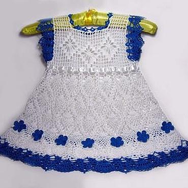 Работы для детей, ручной работы. Ярмарка Мастеров - ручная работа Вязаное крючком платье для девочки, детское платье вязаное. Handmade.