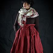 Одежда ручной работы. Ярмарка Мастеров - ручная работа Юбка-тюльпан винного цвета из льна, с палантином. Handmade.