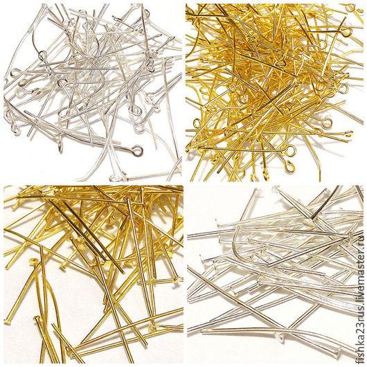 """Для украшений ручной работы. Ярмарка Мастеров - ручная работа. Купить Пины для бижутерии """"гвоздик""""  и """"петли"""" (50 шт) золото и серебро. Handmade."""