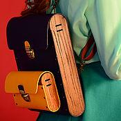 Сумки и аксессуары ручной работы. Ярмарка Мастеров - ручная работа Синий рюкзак трансформер из кожи дерева Carlo сумка рюкзак деревянный. Handmade.
