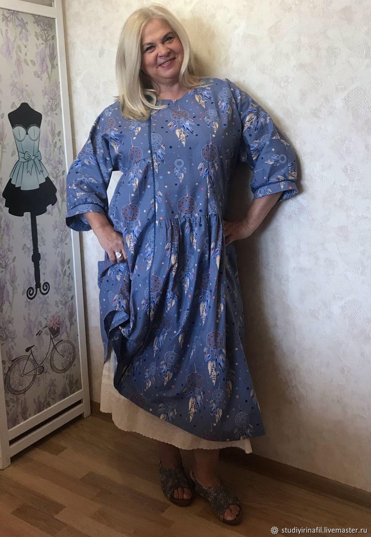 Платье бохо из голубого хлопка Музыка Ветра, Платья, Покров,  Фото №1