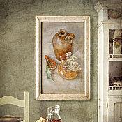 Картины и панно handmade. Livemaster - original item pastel painting, Country still life (brick, olive, white). Handmade.
