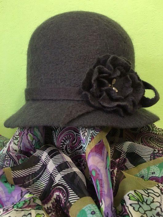 Шляпы ручной работы. Ярмарка Мастеров - ручная работа. Купить Шляпа  валяная женская. Handmade. Шляпка женская, шляпка серая