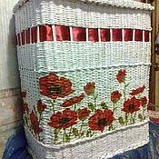 Для дома и интерьера handmade. Livemaster - original item wicker basket for linen with red poppies. Handmade.