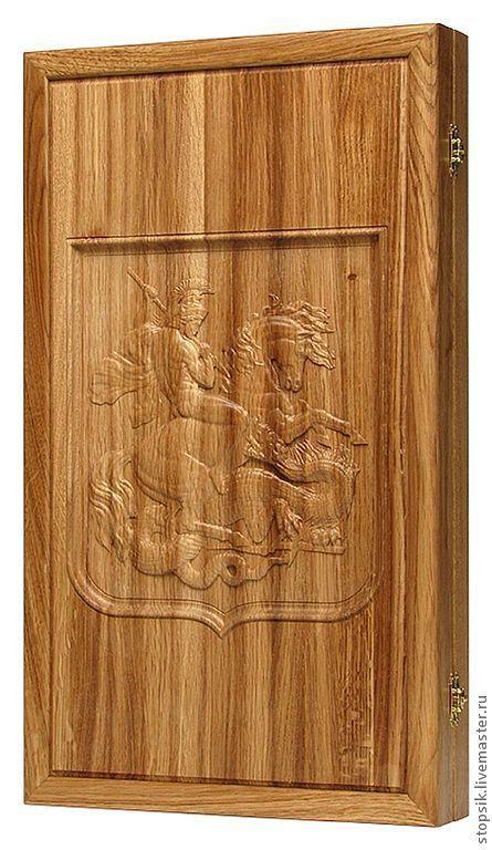 Подарки для мужчин, ручной работы. Ярмарка Мастеров - ручная работа. Купить Нарды, шашки Георгий Победоносец (дуб) 13661. Handmade.