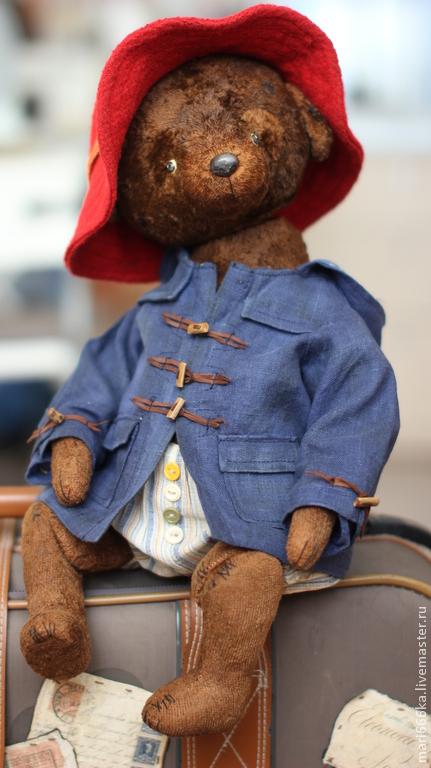 Мишки Тедди ручной работы. Ярмарка Мастеров - ручная работа. Купить Мишка в красной шляпке. Handmade. Коричневый, плюш винтажный