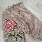 Аксессуары ручной работы. Ярмарка Мастеров - ручная работа Варежки с вышивкой Розы тунисское вязание+вышивка. Handmade.