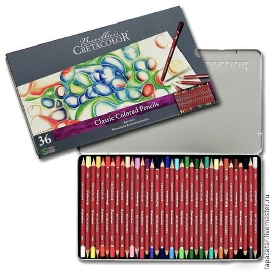 Другие виды рукоделия ручной работы. Ярмарка Мастеров - ручная работа. Купить Художественные цветные карандаши CretaColor 36 шт в металле. Handmade.