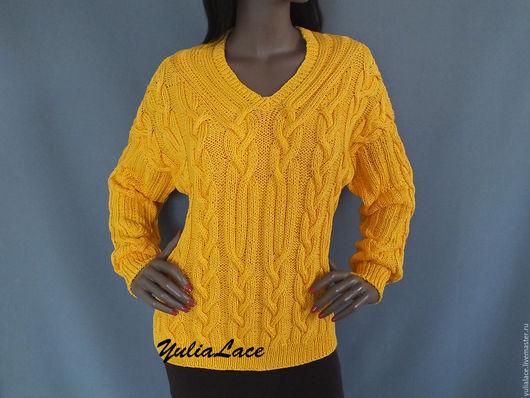 Кофты и свитера ручной работы. Ярмарка Мастеров - ручная работа. Купить Пуловер из хлопка. Handmade. Желтый, пуловер спицами, джемпер
