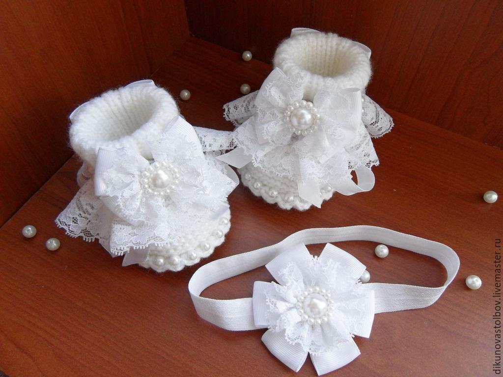 """Для новорожденных, ручной работы. Ярмарка Мастеров - ручная работа. Купить Комплект """"Белоснежка"""". Handmade. Белый, пинетки для девочки"""
