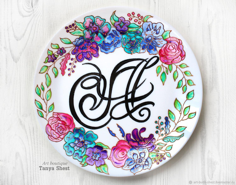 Декоративная посуда ручной работы. Ярмарка Мастеров - ручная работа. Купить Декоративная тарелка 'A персональная' каллиграфия ручная роспись. Handmade.