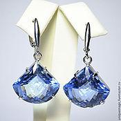 Украшения handmade. Livemaster - original item Earrings Swiss blue Topaz. 925 sterling silver st.. Handmade.