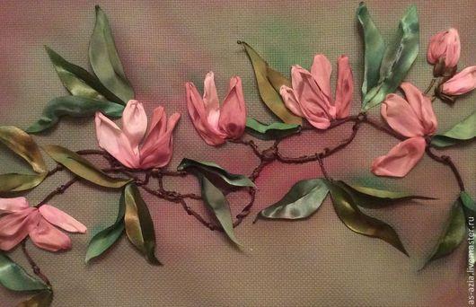 Картины цветов ручной работы. Ярмарка Мастеров - ручная работа. Купить Магнолия. Handmade. Вышивка лентами, картина, канва