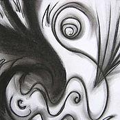 """Картины и панно ручной работы. Ярмарка Мастеров - ручная работа Рисунок углем """"Волнение"""". Абстракция. Черно-белый. Handmade."""