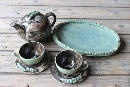 """Сервизы, чайные пары ручной работы. Ярмарка Мастеров - ручная работа. Купить Сервиз """"Зеленый горошек"""" №16. Handmade. Черный"""