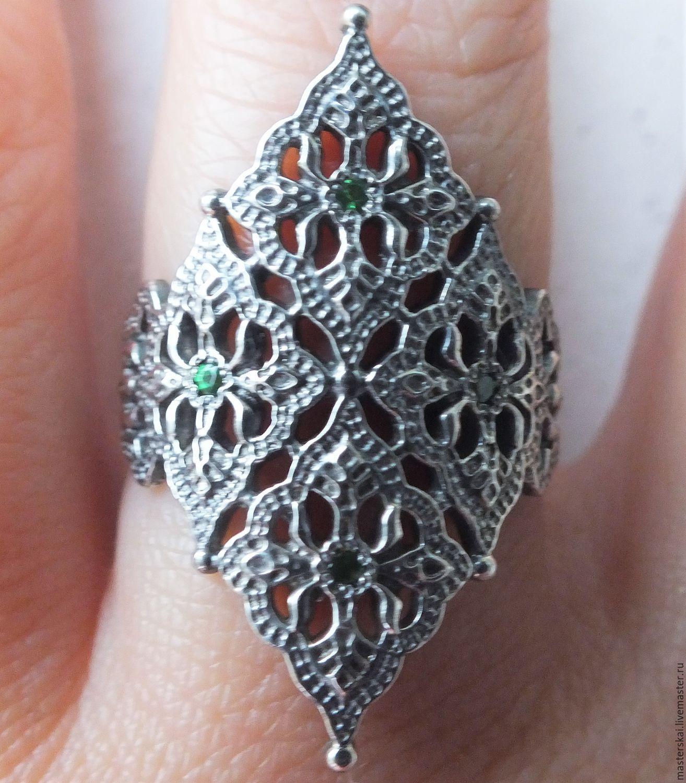 Ring 'Thomire'- tsavorite, silver, Rings, Moscow,  Фото №1
