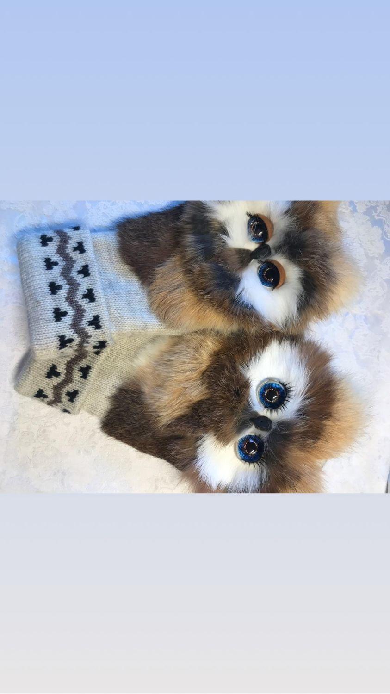 Варежки с совами из меха коричневые, Варежки, Москва,  Фото №1