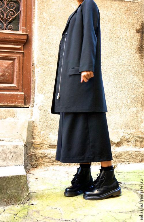 Пиджак, черный пиджак, шерсятной пиджак, длинный пиджак, мода  2015