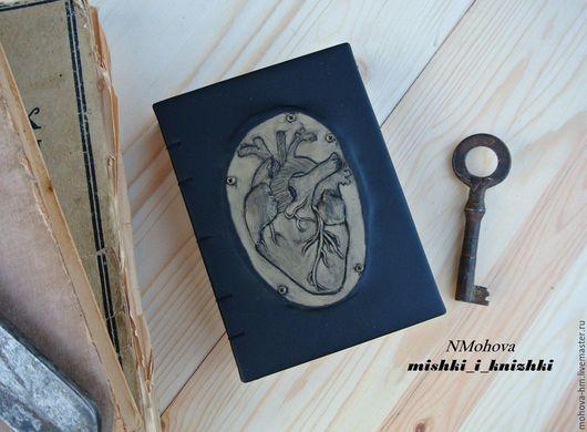 Ежедневники ручной работы. Ярмарка Мастеров - ручная работа. Купить Блокнот Сердце. Handmade. Черный, блокнот в подарок