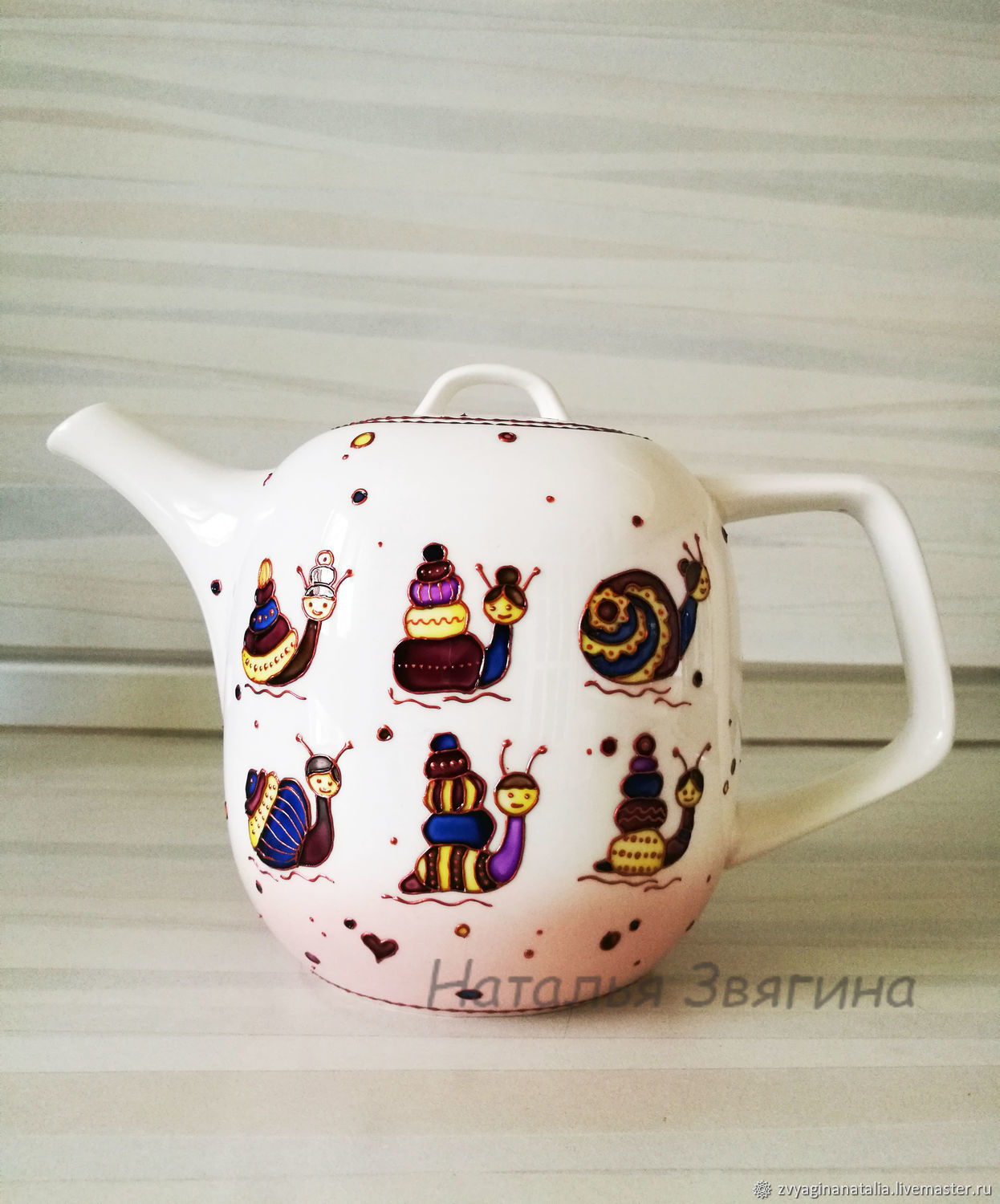Kettles: Teapot with hand-painted Snails. Gift, Teapots & Kettles, Ekaterinburg,  Фото №1