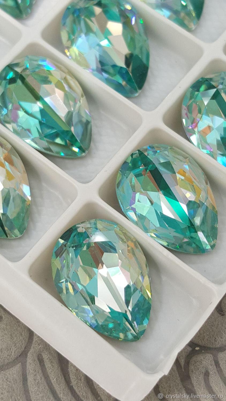 Crystal rhinestones drop 13h18 Premium, Duo Color 'Turquoise', Crystals, Jerusalem,  Фото №1