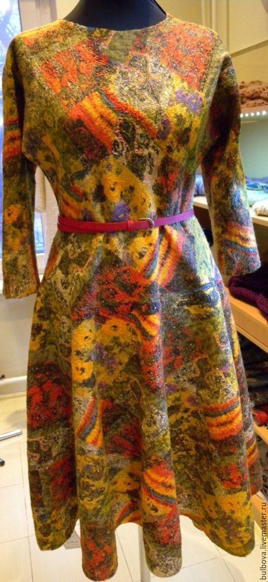 Платья ручной работы. Ярмарка Мастеров - ручная работа. Купить Платье шерстяное валяное Терракотовая фантазия. Handmade. Комбинированный, теплое