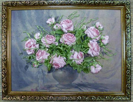 Картины цветов ручной работы. Ярмарка Мастеров - ручная работа. Купить Ангельские розы. Handmade. Комбинированный, розовые розы
