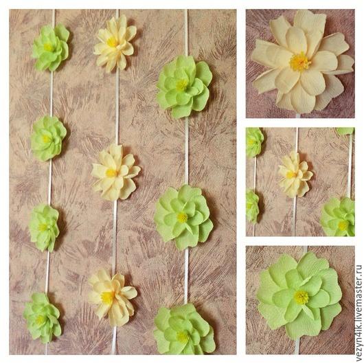 Свадебные цветы ручной работы. Ярмарка Мастеров - ручная работа. Купить Цветочная гирлянда. Handmade. Разноцветный, Декор, цветы из бумаги