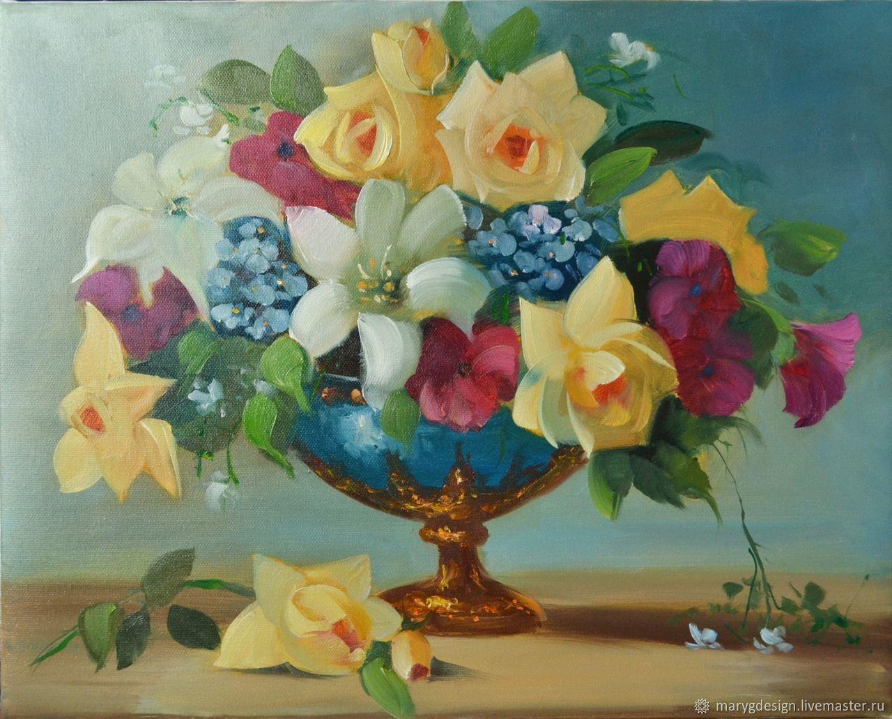 Цветы в вазе, Картины, Москва,  Фото №1