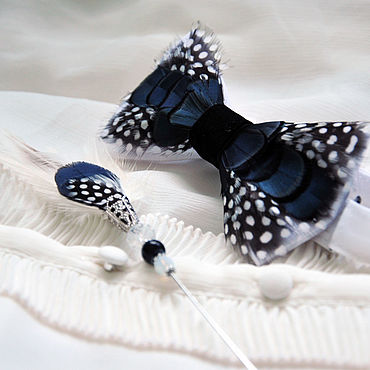 Accessories handmade. Livemaster - original item Bow tie and boutonniere set with Guinea fowl and pheasant feathers. Handmade.