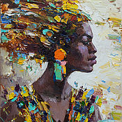 Картины и панно handmade. Livemaster - original item African woman portrait Original oil painting. Handmade.