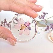 Украшения handmade. Livemaster - original item Transparent Earrings with Real Flowers and Leaves pink flowers Eco. Handmade.