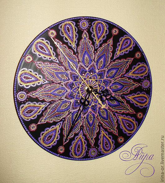 """Часы для дома ручной работы. Ярмарка Мастеров - ручная работа. Купить Часы """"Аметист"""". Handmade. Фиолетовый, точечная роспись"""