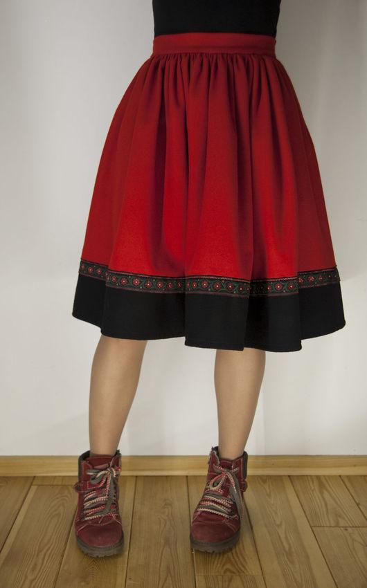 Юбки ручной работы. Ярмарка Мастеров - ручная работа. Купить Зимняя шерстяная юбка. Handmade. Ярко-красный, зимняя юбка