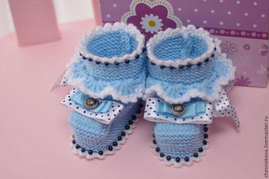 """Для новорожденных, ручной работы. Ярмарка Мастеров - ручная работа. Купить Пинетки для новорожденного  """" маленький принц"""". Handmade. Голубой"""