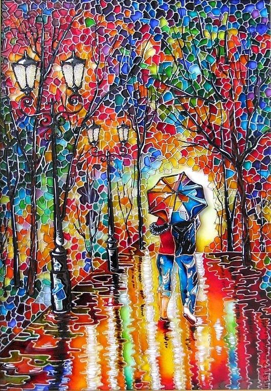 """Город ручной работы. Ярмарка Мастеров - ручная работа. Купить """"Двое под одним зонтом"""" Витражная роспись стекла. Handmade."""
