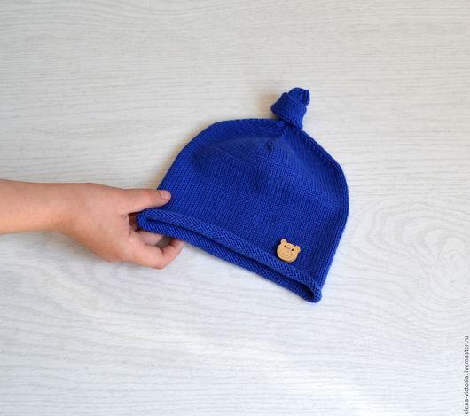 Шапки и шарфы ручной работы. Ярмарка Мастеров - ручная работа. Купить Вязаная шапочка для малыша.. Handmade. Тёмно-синий