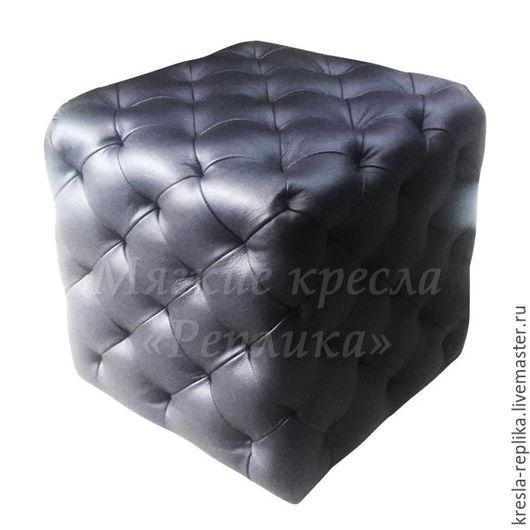 Пуф кубический черный кожаный