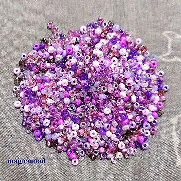 Materials for creativity handmade. Livemaster - original item 10gr Czech seed Beads mix 10/0 lilac size. Handmade.