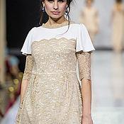 Свадебный салон ручной работы. Ярмарка Мастеров - ручная работа Белое платье с бежевым кружевом. Handmade.