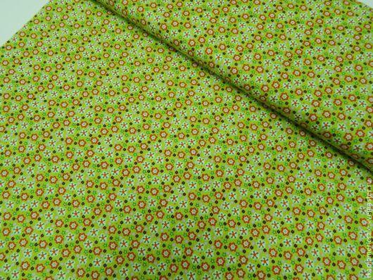 Шитье ручной работы. Ярмарка Мастеров - ручная работа. Купить Американский хлопок. Мелкий цветочек на ярко-зеленом.. Handmade. Хлопок