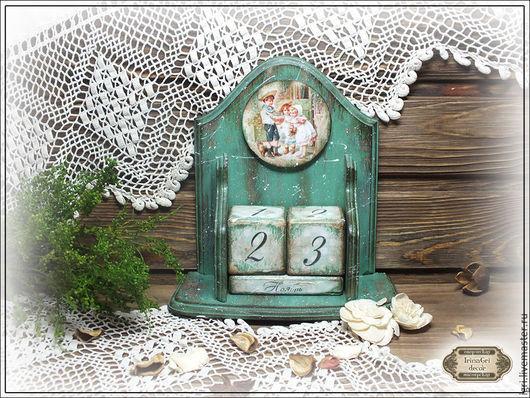 Календари ручной работы. Ярмарка Мастеров - ручная работа. Купить Вечный календарь. Handmade. Зеленый, вечный календарь декупаж