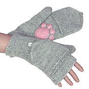 Аксессуары handmade. Livemaster - original item Mittens-mittens with caps (a level) with legs knit Grey. Handmade.