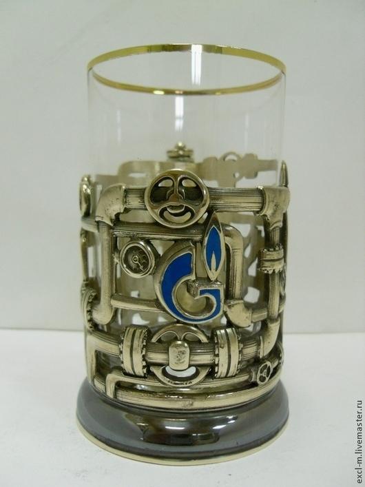 Бокалы, стаканы ручной работы. Ярмарка Мастеров - ручная работа. Купить Подстаканник Газпром. Handmade. Газ, латунь, подарок мужчине